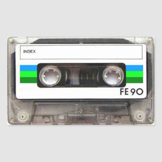 Cassette Tape Green Rectangular Stickers