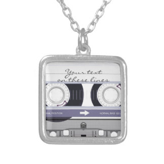 Cassette tape - grey - silver plated necklace