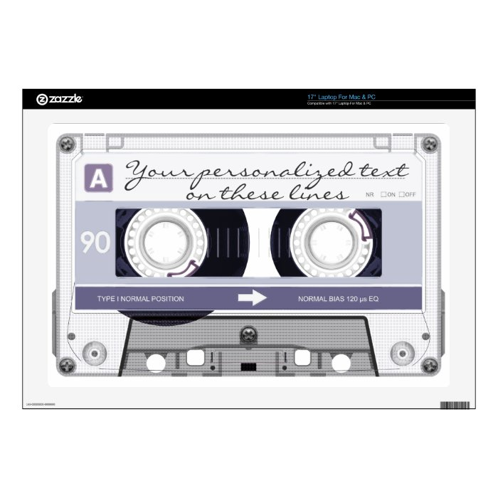 "Cassette tape - grey - skin for 17"" laptop"