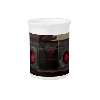 Cassette tape music vintage red beverage pitcher