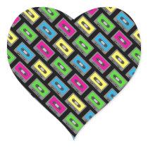 Cassette Tape Pattern Heart Sticker