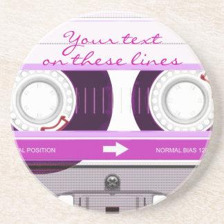 Cassette tape - pink - sandstone coaster