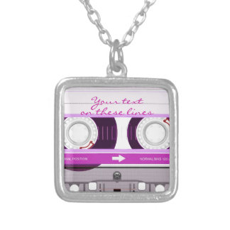 Cassette tape - pink - silver plated necklace