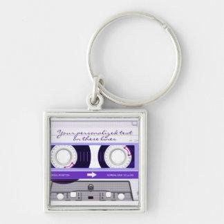 Cassette tape - purple - keychain