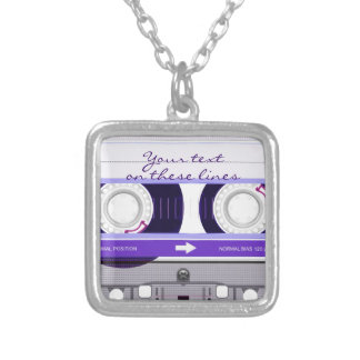 Cassette tape - purple - silver plated necklace