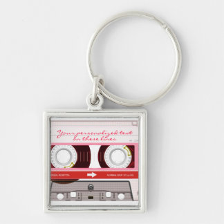 Cassette tape - red - keychain