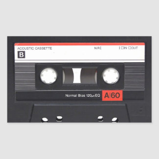 Cassette Tape Red Rectangular Stickers