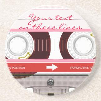 Cassette tape - red - sandstone coaster