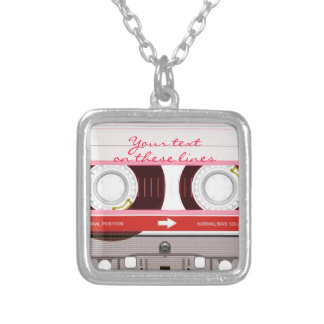 Cassette tape - red - silver plated necklace