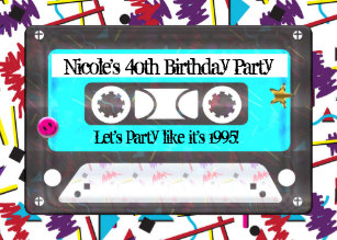 Cassette Tape Retro 80s 90s Theme Birthday Party Invitation