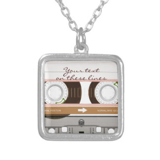 Cassette tape - tan - silver plated necklace
