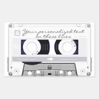 Cassette tape - white - rectangular sticker