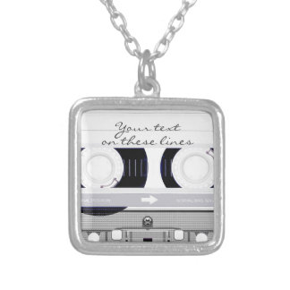 Cassette tape - white - silver plated necklace