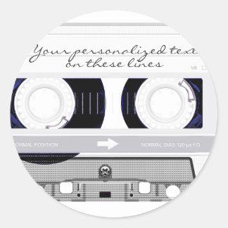 Cassette tape - white - classic round sticker