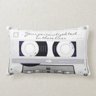 Cassette tape - white - throw pillow