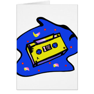 Cassette Tape Yellow and Blue Card