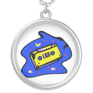 Cassette Tape Yellow and Blue Silver Plated Necklace