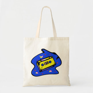 Cassette Tape Yellow and Blue Tote Bag