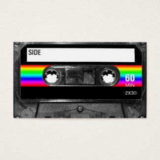 Cassette w/Black and Rainbow Stripe Label Business Card