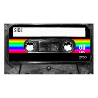 Cassette w/Black and Rainbow Stripe Label Double-Sided Standard Business Cards (Pack Of 100)