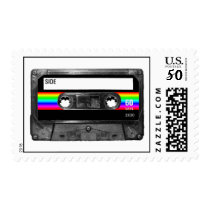Cassette w/Black and Rainbow Stripe Label Postage
