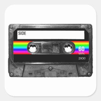 Cassette w Black and Rainbow Stripe Label Sticker