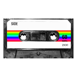 Cassette With Rainbow Stripe Label Business Card Template