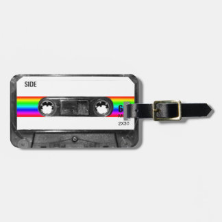 Cassette With Rainbow Stripe Label Tag For Luggage