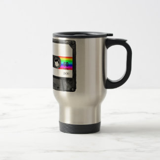Cassette With Rainbow Stripe Label Travel Mug