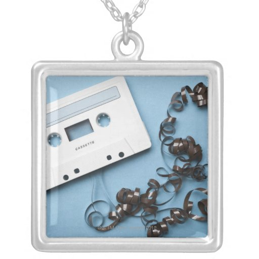 Cassette with Tangled Tape Square Pendant Necklace