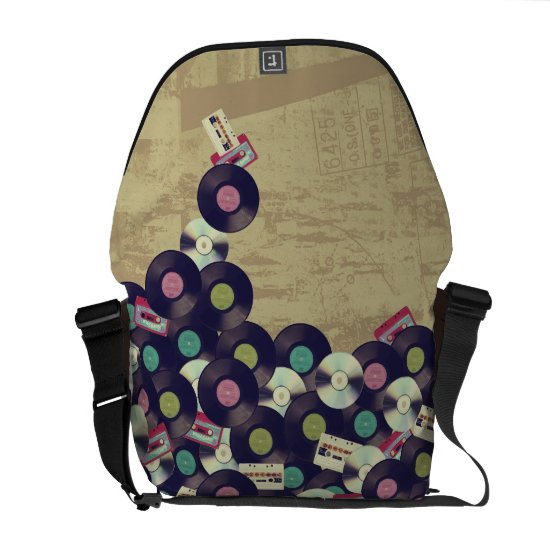 Cassettes and Records - Vintage design Courier Bag