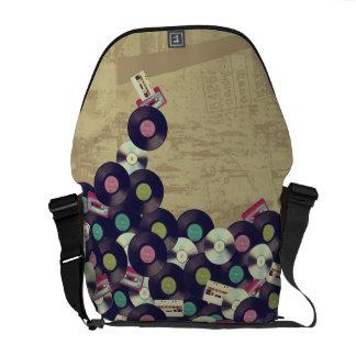Cassettes and Records - Vintage design Messenger Bag