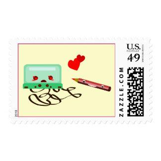 cassettes love postage stamp