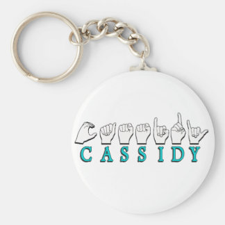 CASSIDY (Turquoise)  NAME SIGN ASL FINGERSPELLED Basic Round Button Keychain