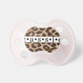 """Cassie"" Personalized Cheetah Print Pacifier"