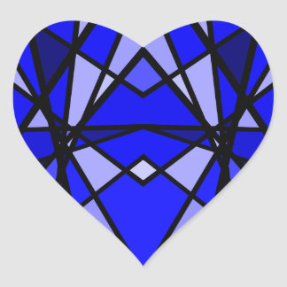 Cassie's art Blue modern stained glass heart Heart Sticker