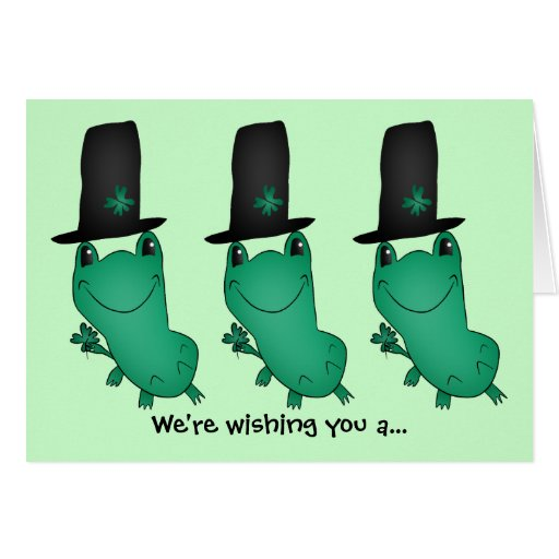 Cassie's St. Patrick's Day frog with shamrock Greeting Card