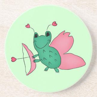 Cassie's Valentine's Day frog fairy Sandstone Coaster