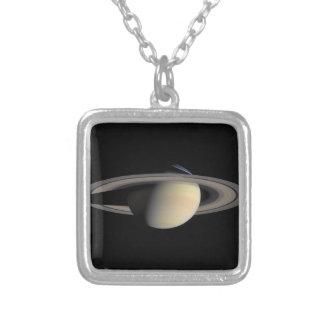 Cassini Photo of Saturn in October, 2004 Square Pendant Necklace