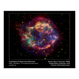 Cassiopeia A Supernova Remnant-Spitzer Telescope Poster