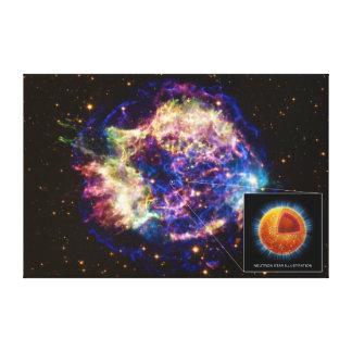 Cassiopeia el remanente de la supernova una estrel impresion en lona
