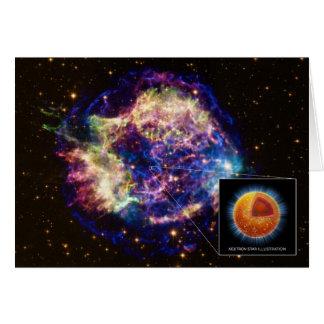 Cassiopeia el remanente de la supernova una estrel tarjeta de felicitación