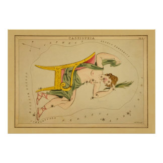 Cassiopeia - Vintage Astronomical Star Chart Image Poster