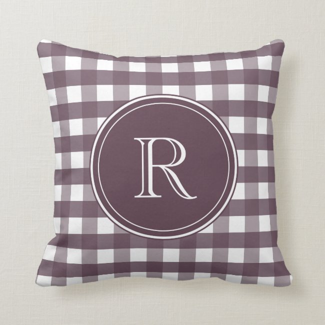Cassis Purple and White Gingham Throw Pillow