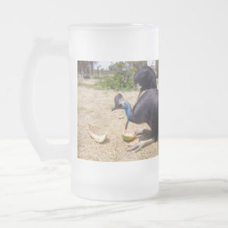 Cassowary Bird Eating Melons, Frosted Glass Beer Mug