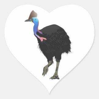 Cassowary Bird Heart Sticker