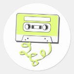 Casssette retro etiquetas redondas