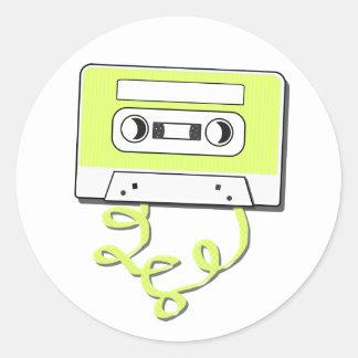 Casssette retro pegatina redonda