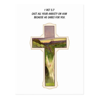 Cast all your anxiety on him cross postcard