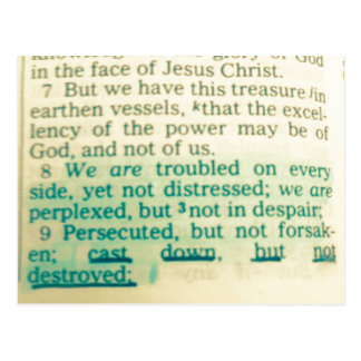 Cast down but not destroyed Bible Verse Postcard